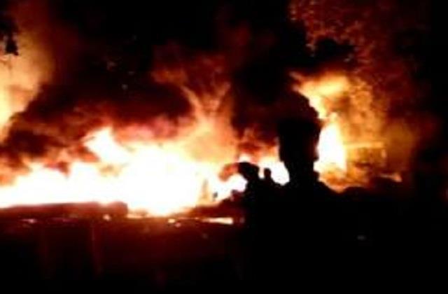 heavy fire in 9 shops in sapaul