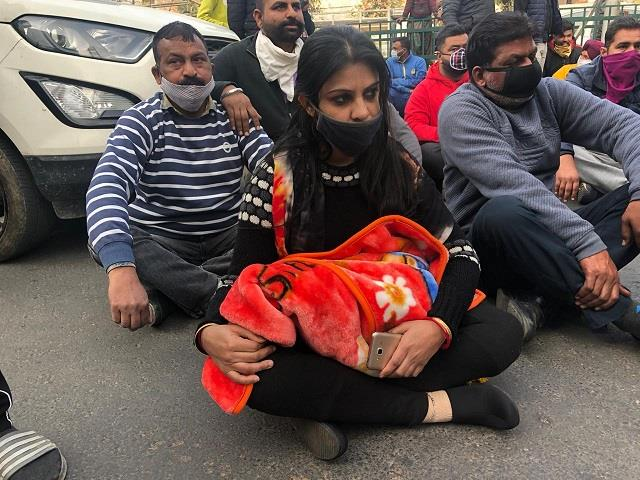 family protest front of hospital