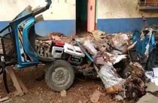 up e rickshaw battery burst while charging one dead