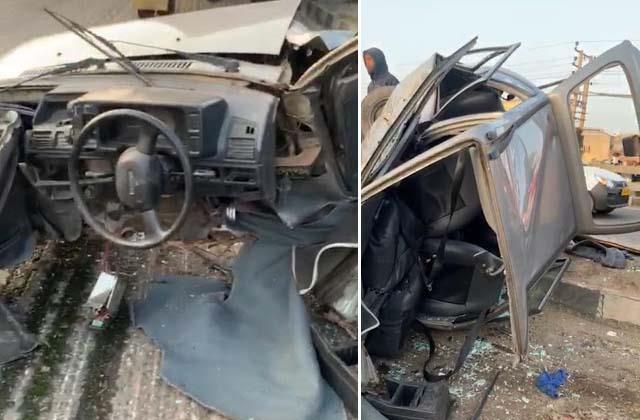 road accident car truck