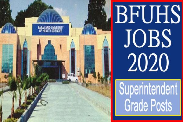 bfuhs recruitment 2020 for 6 posts including superintendent grade