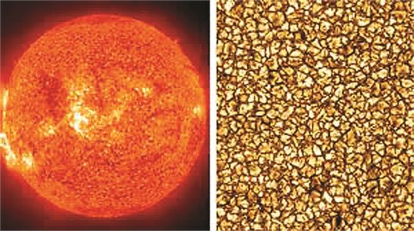 the granular surface of the sun is granular and larger