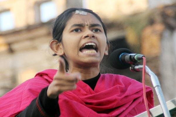 aishi ghosh president jnu students  union spoke bhopal  i take spark lit jnu