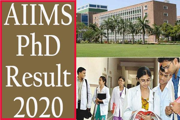 aiims phd result 2020 declared
