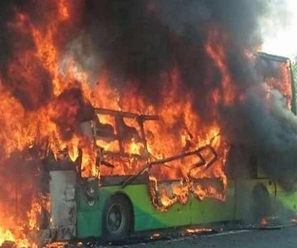 a fire broke out in a private bus