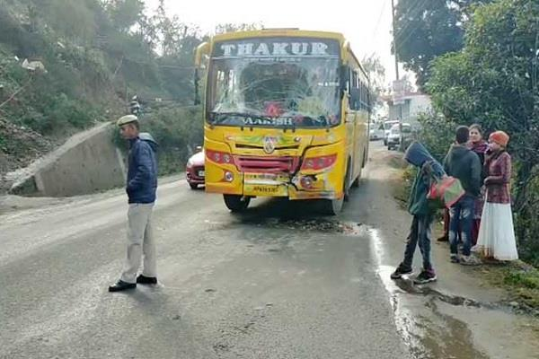 strong collision in private bus and truck