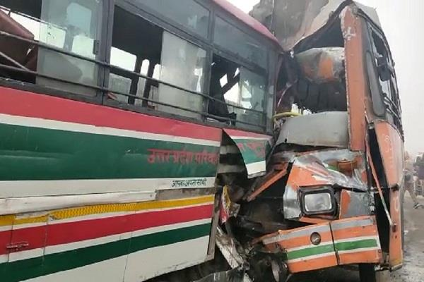two buses of roadways clash in bahraich driver killed 15 passengers injured