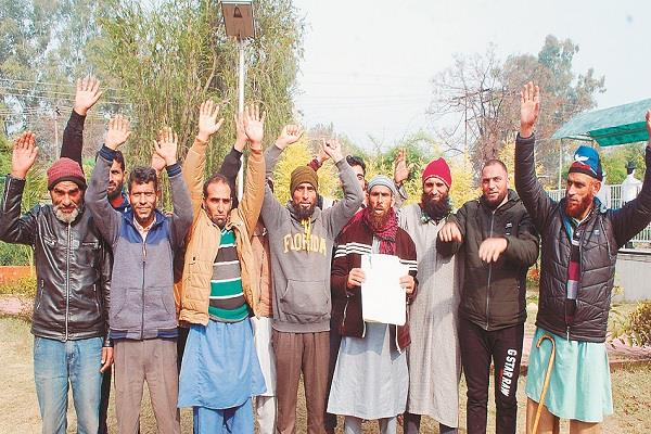 demonstration people at district headquarters regarding ration problem