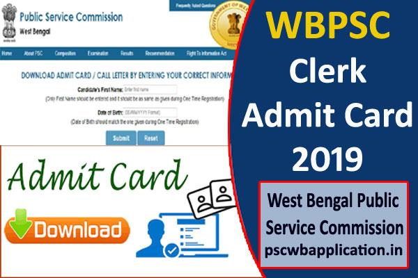 wbpsc clerk admit card 2019 released