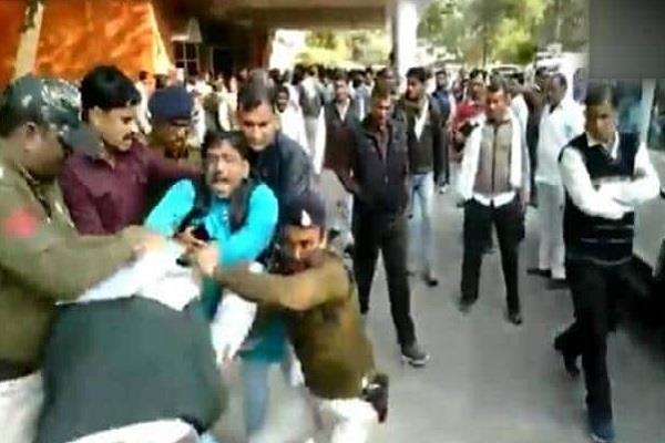 public relations minister pc sharma and congress leader brawl
