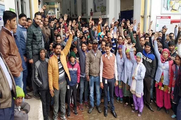 worker on strike in factory