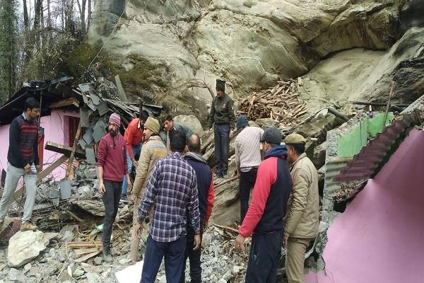 rock falls from hill near holi