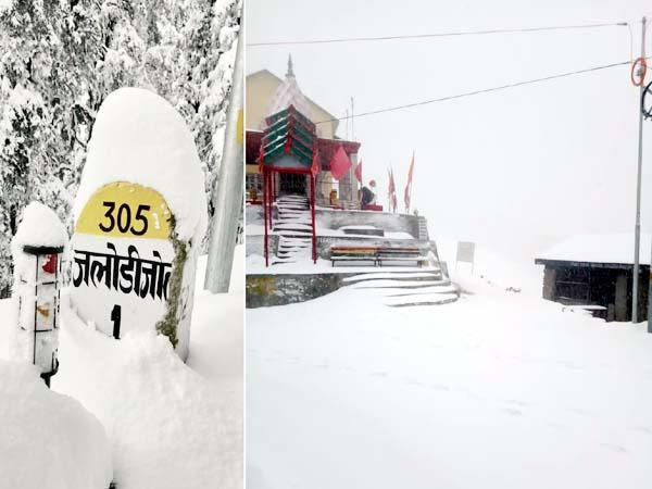 heavy snowfall in jalori pass
