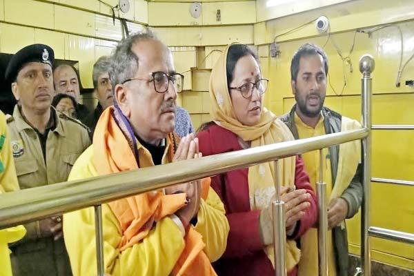 former deputy cm of j k reached in baglamukhi temple