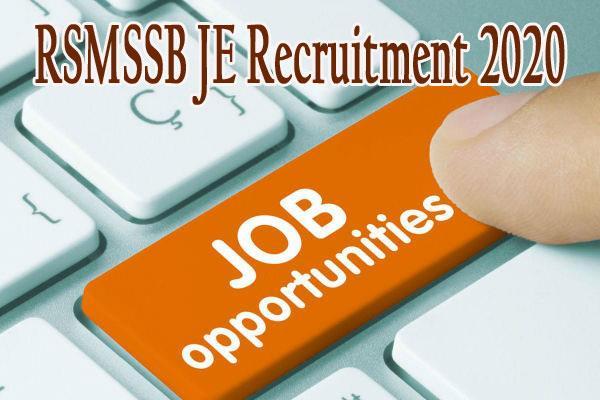rsmssb recruitment 2020 apply online for 1054 junior engineer jen posts