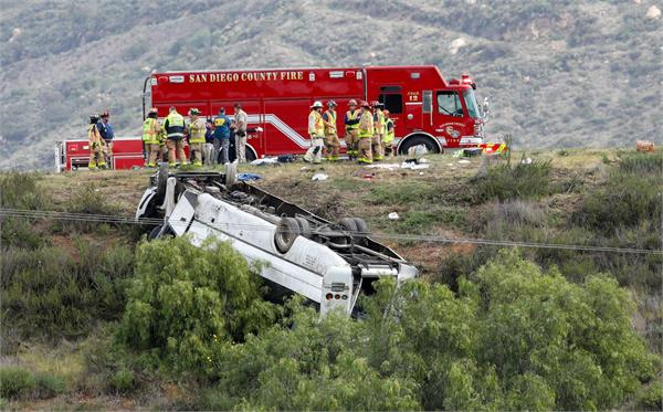 3 killed 18 injured when charter bus rolls down