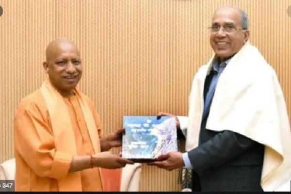 temple building trust officer meets chief minister yogi