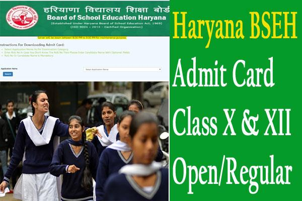 haryana bseh releases admit card 2020 for class x  xii open regular