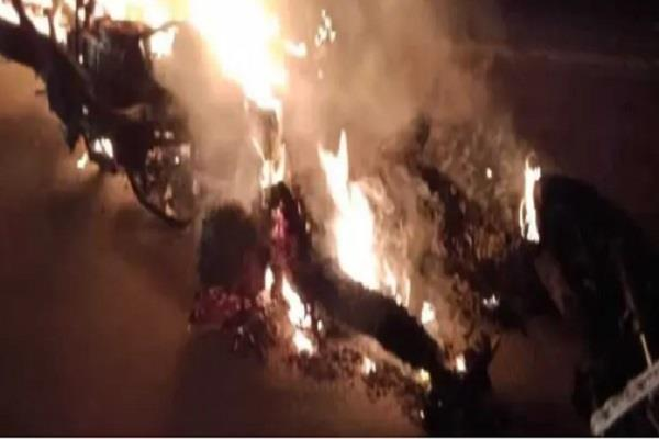 truck collision caused a horrific explosion in the bike