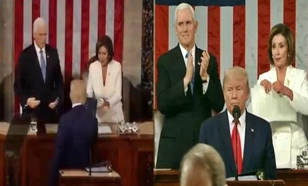 trump snubbed pelosi handshake attempt at start of state of union