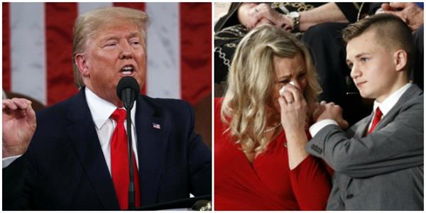 martyr soldier s widow becomes emotional in trump s speech