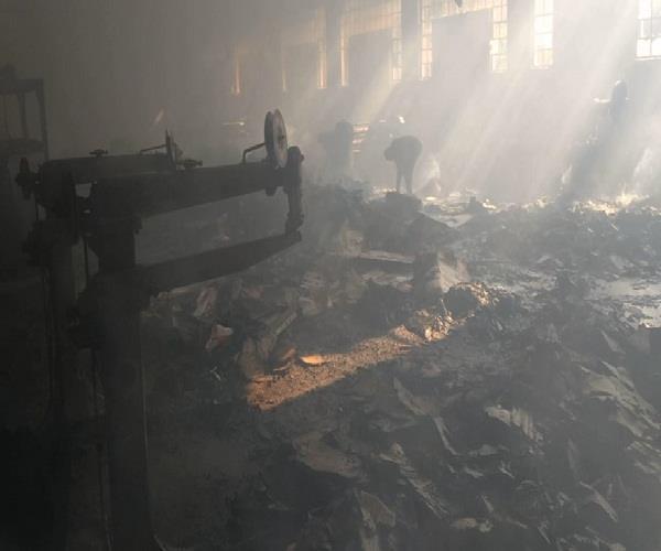 cardboard factory caught fire