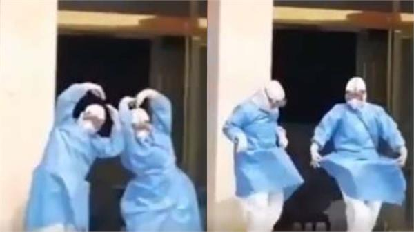 chinese medical staff celebrate patients recovery with dance