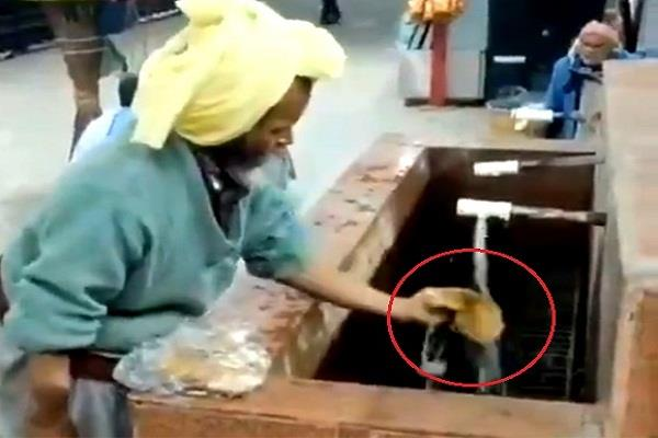 elderly washed bread to eat