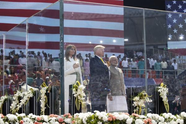trump arrived in agra after a mega show at motera stadium ahmedabad