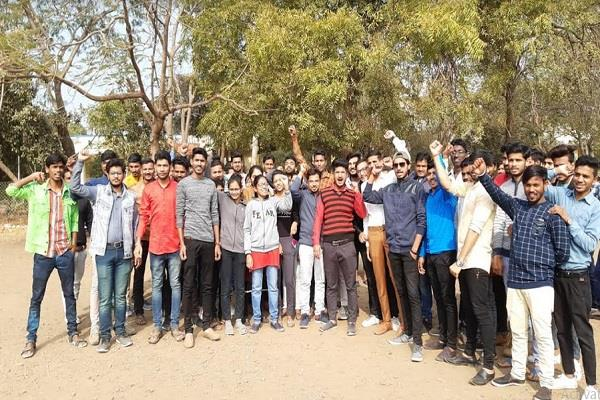 send out bhms college exam suddenly angry stud shout slogans premises