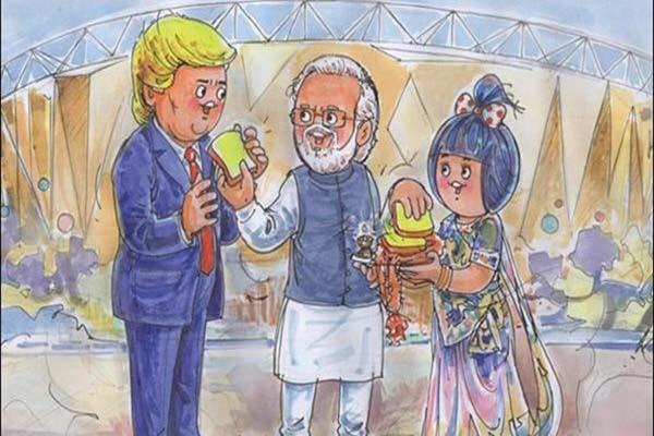 when pm modi fed trump with bread and butter see this fun doodle of amul