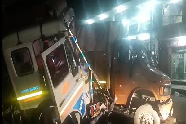three trucks collide in samba on jammu pathankot national highway
