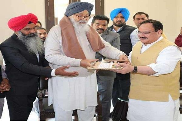 bjp president nadda met badal in his native village