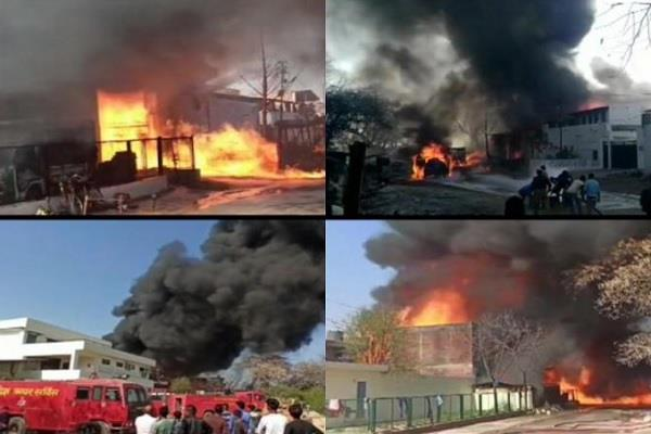 kanpur fierce fire in chemical factory fire brigade evacuates nearby factories
