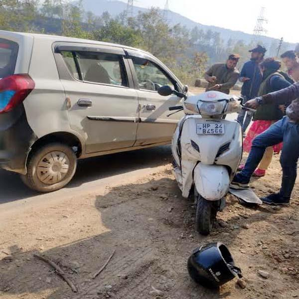 collision between car and scooty