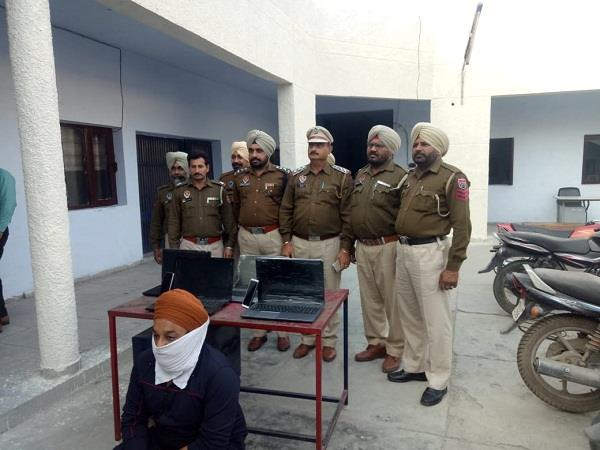 police raid on gambling base 2 mobiles 4 laptops recovered 1 arrested