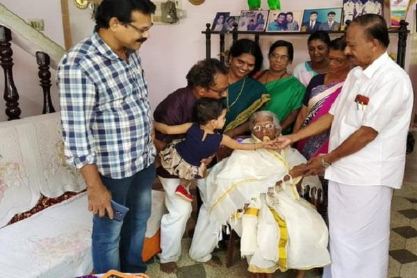 105 year old great grandma passed fourth grade in kerala