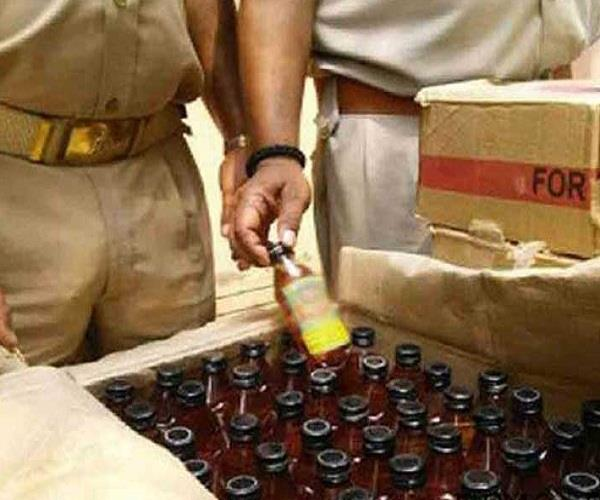 police caught illegal liquor in a trolley