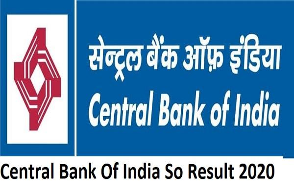 central bank of india so result 2020 released direct link