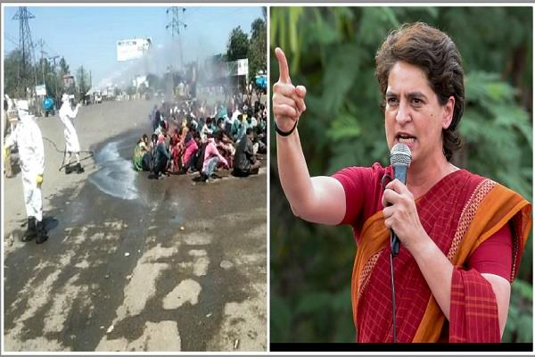chemical rain on workers in bareilly priyanka said do not such inhuman work