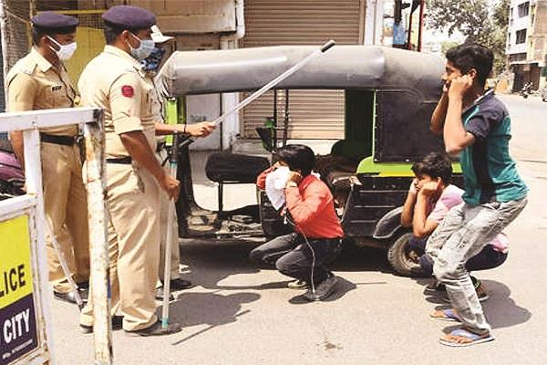 police twisting the baton  trembling  subjects