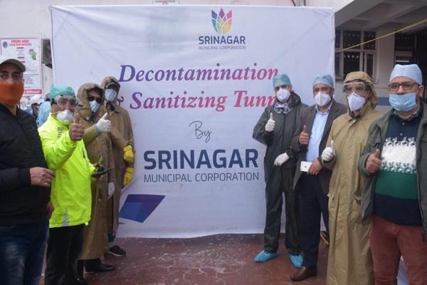 first  decontamination  and  sanitization  tunnel at cd hospital srinagar