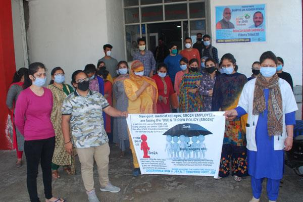 health employees protest in kathua