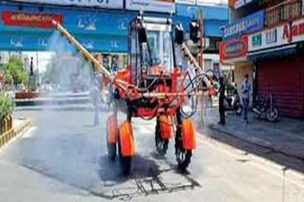 boom sprayer starts in kashmir against covid 19