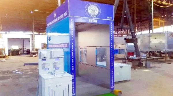drdo built disinfection chamber in aiims
