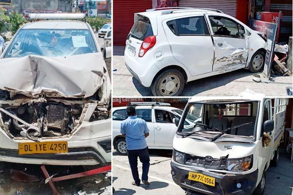 चालक को आई नींद की झपकी, 3 गाड़ियाें को टक्कर मार दुकान में जा घुसी कार