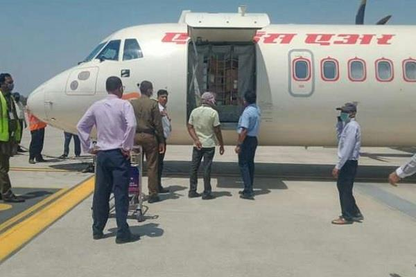 charter aircraft of air india alliance reached varanasi with test kit