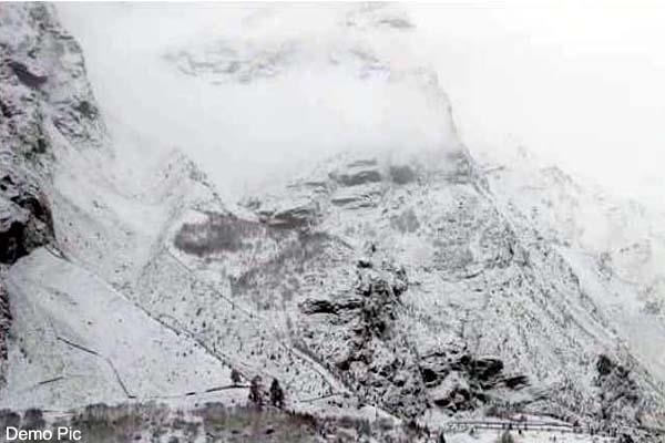 fresh snowfall on the mountains of bharmour