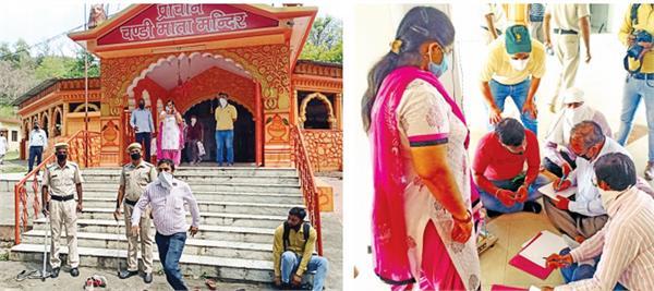 mansa devi shrine board captured the ancient chandi mata temple