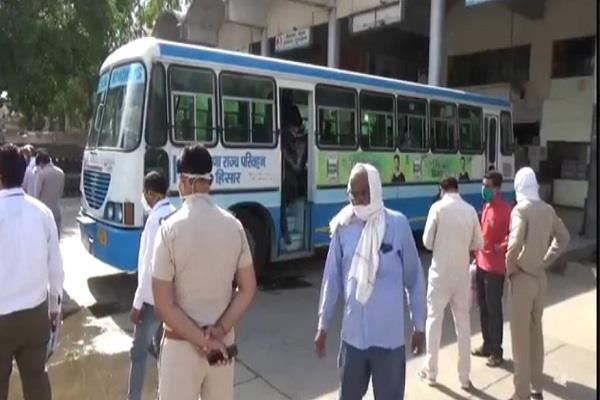 bus departed from hisar to panchkula ppe given to drivers